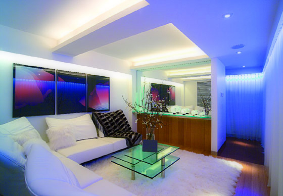 Modern LED lighting in the living room