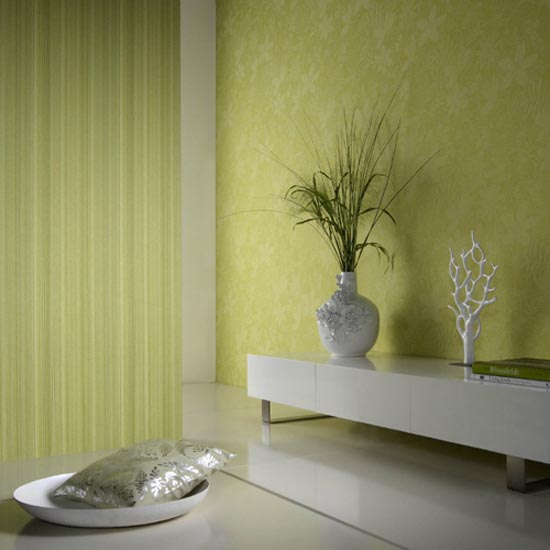Modern Room Eco With Yellow Floral Wallpaper