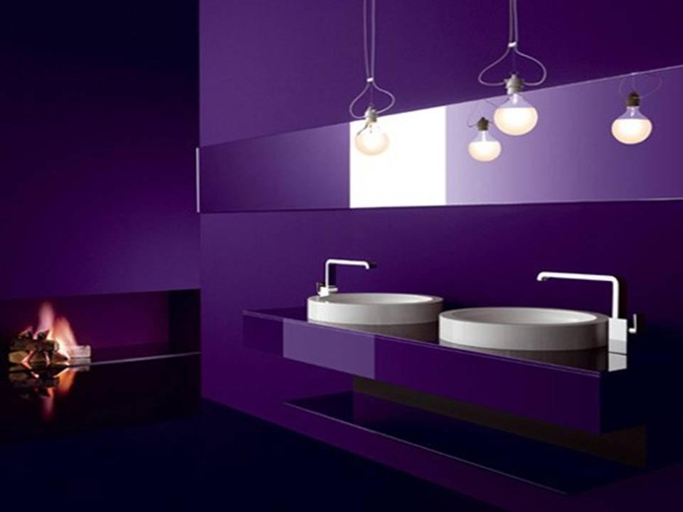 Purple Minimalist Bathroom With Fireplace And Sinks