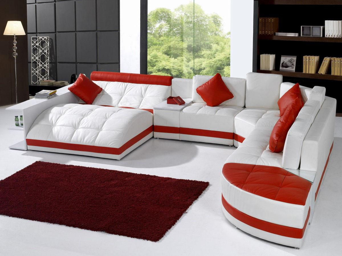 Unique white red leather sofa in living room