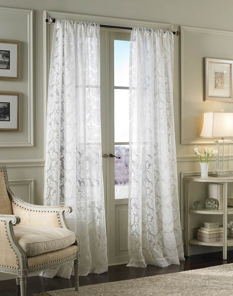 My Decorative 187 Damask Lace White Pole Top Window Curtain