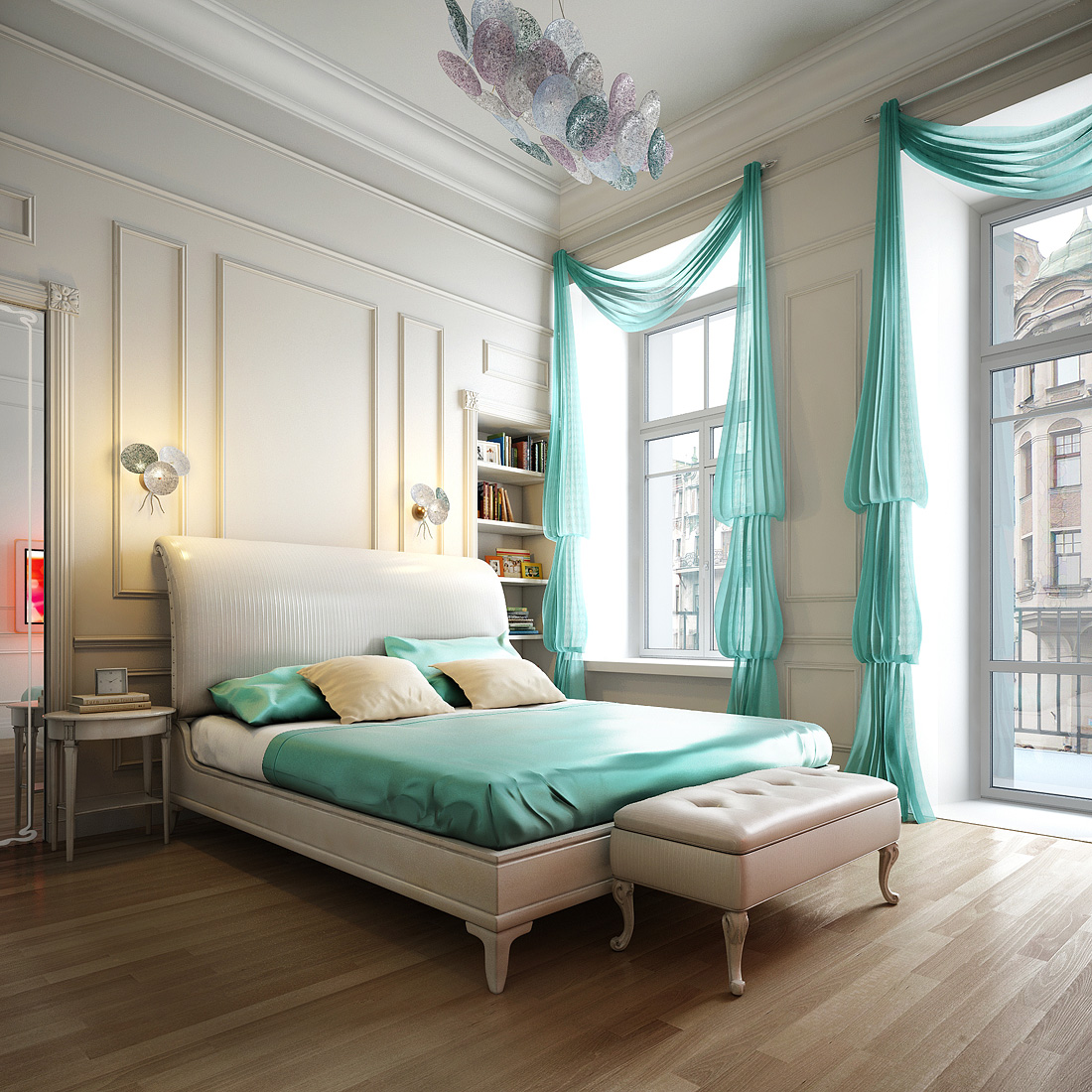 Impressive Design Aqua Blue Bedroom Spalnya