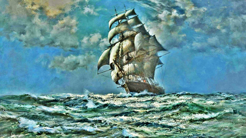 a ship in the ocean paintings