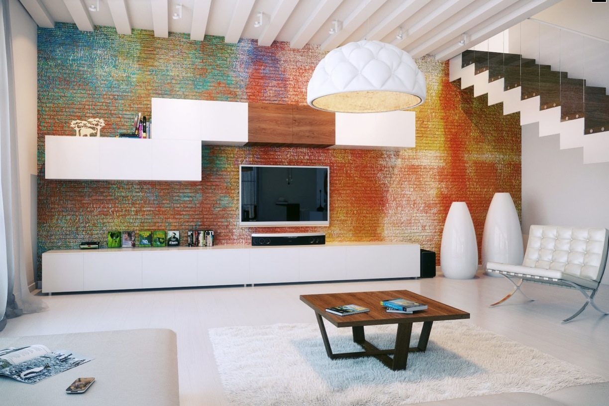 Colorful exposed brick wall modular storage