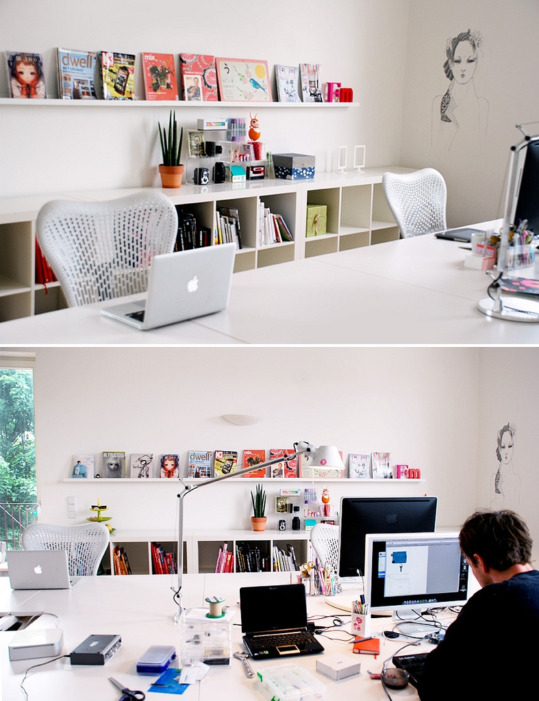 Contemporary White Themed Home Office Design with Large Scale Desk and White Shelves