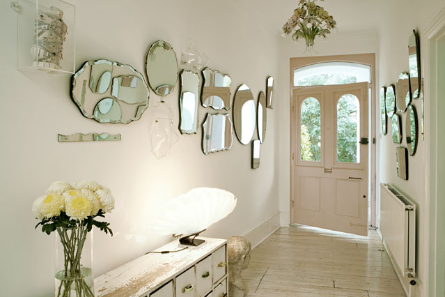 Shell frame mirror for living room
