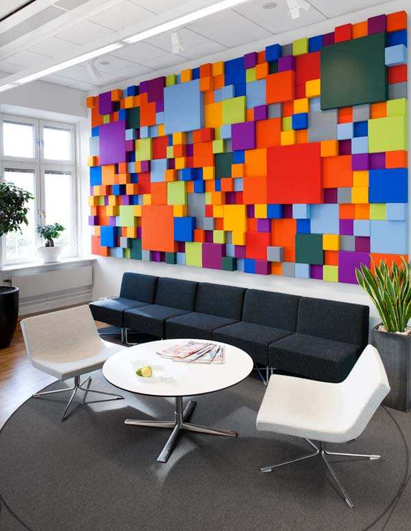 Cheerful office interior desain in sweden