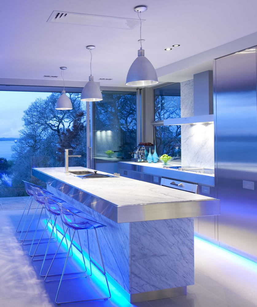 Blue Interior Kitchcen Lighting