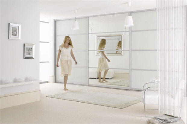 Wardrobe white mirror