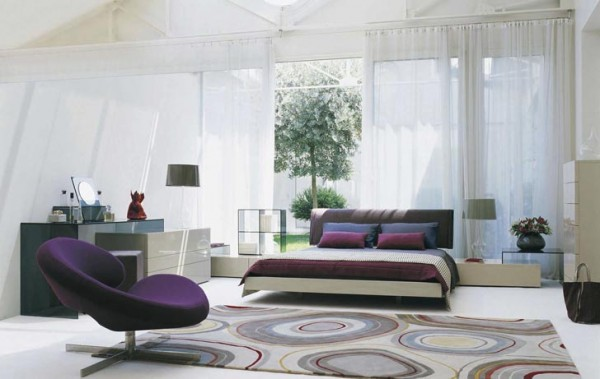 White Purple Bedroom Decorating from Roche Bobois