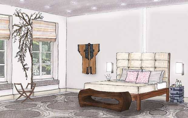 Sketch of the Asian model bedroom interior design