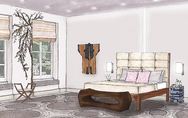 Sitting Room - prismacolor markers & colored pencil ...  |Interior Design Color Sketches