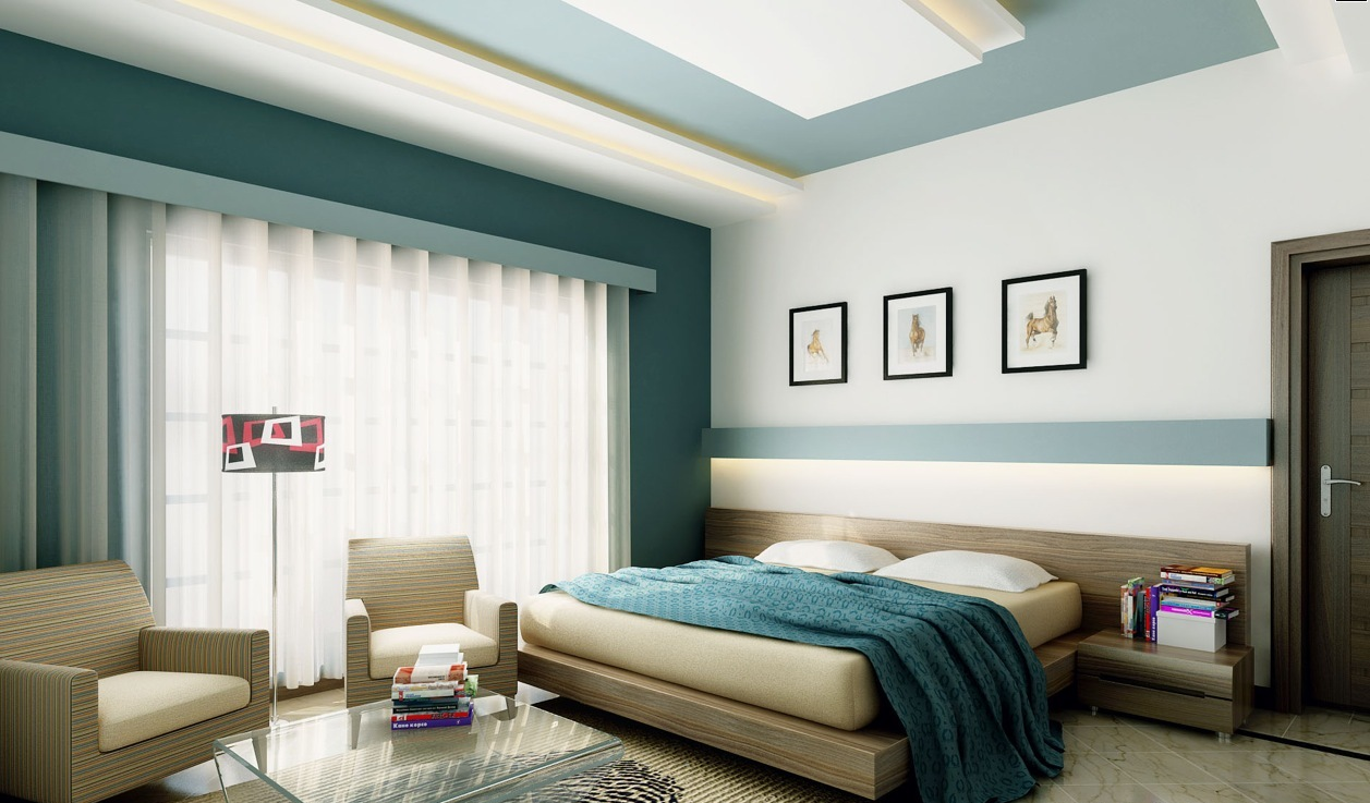 Awesome bedroom interior with various feature walls design blue and white ceiling with led