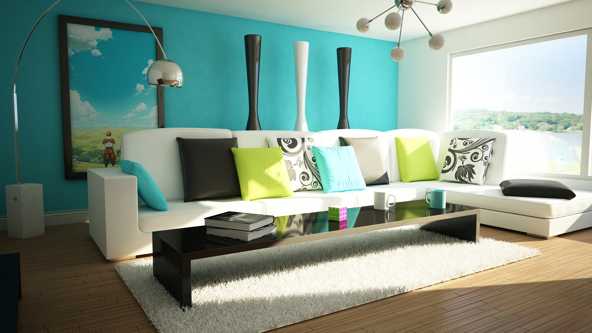 Design Bright and Cozy Living Room with Blue Wallpaper Design Slim