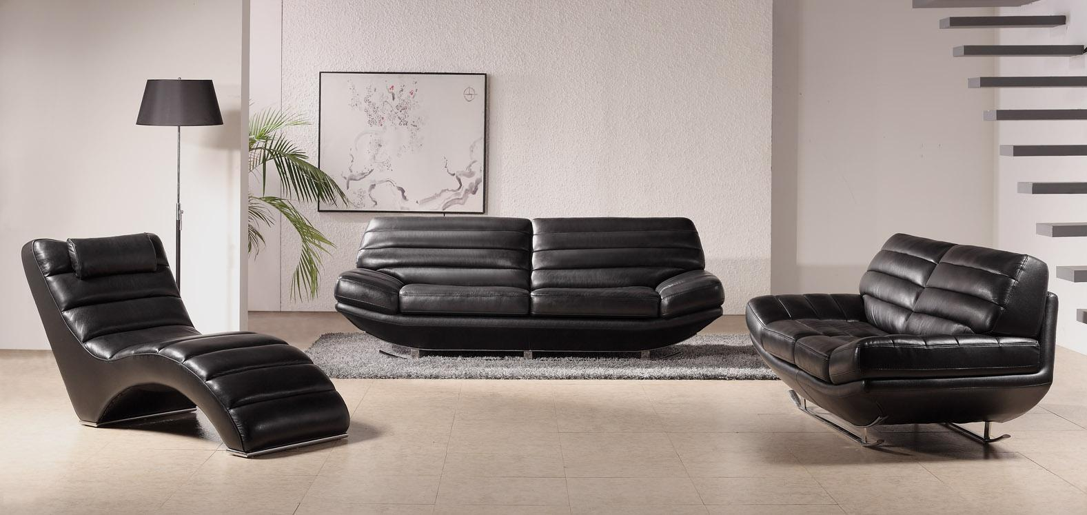 Sweet deluxe black leather sofa set for living room