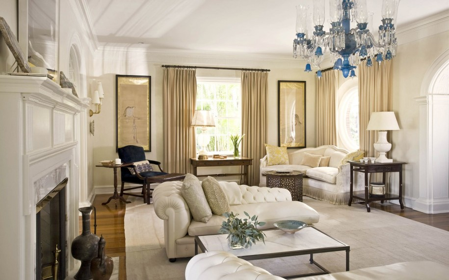 Combination Of Cream Curtain And White Carpet