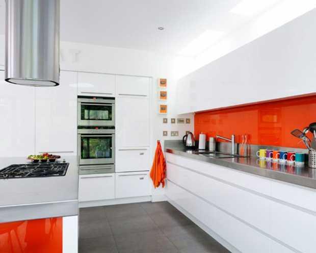 Kitchen With Orange Accents Ideas Design