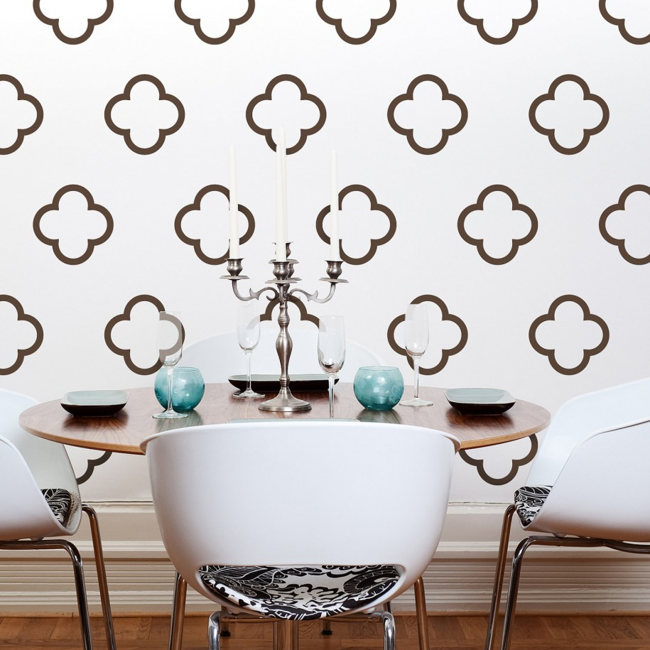 Moroccan Wall Decals White Chairs White Candles Wooden Round Table Blue Candle Holders