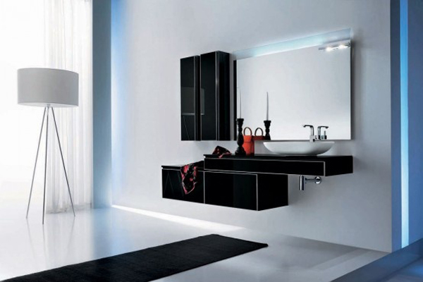 Attractive and creative black glass bathroom furniture design