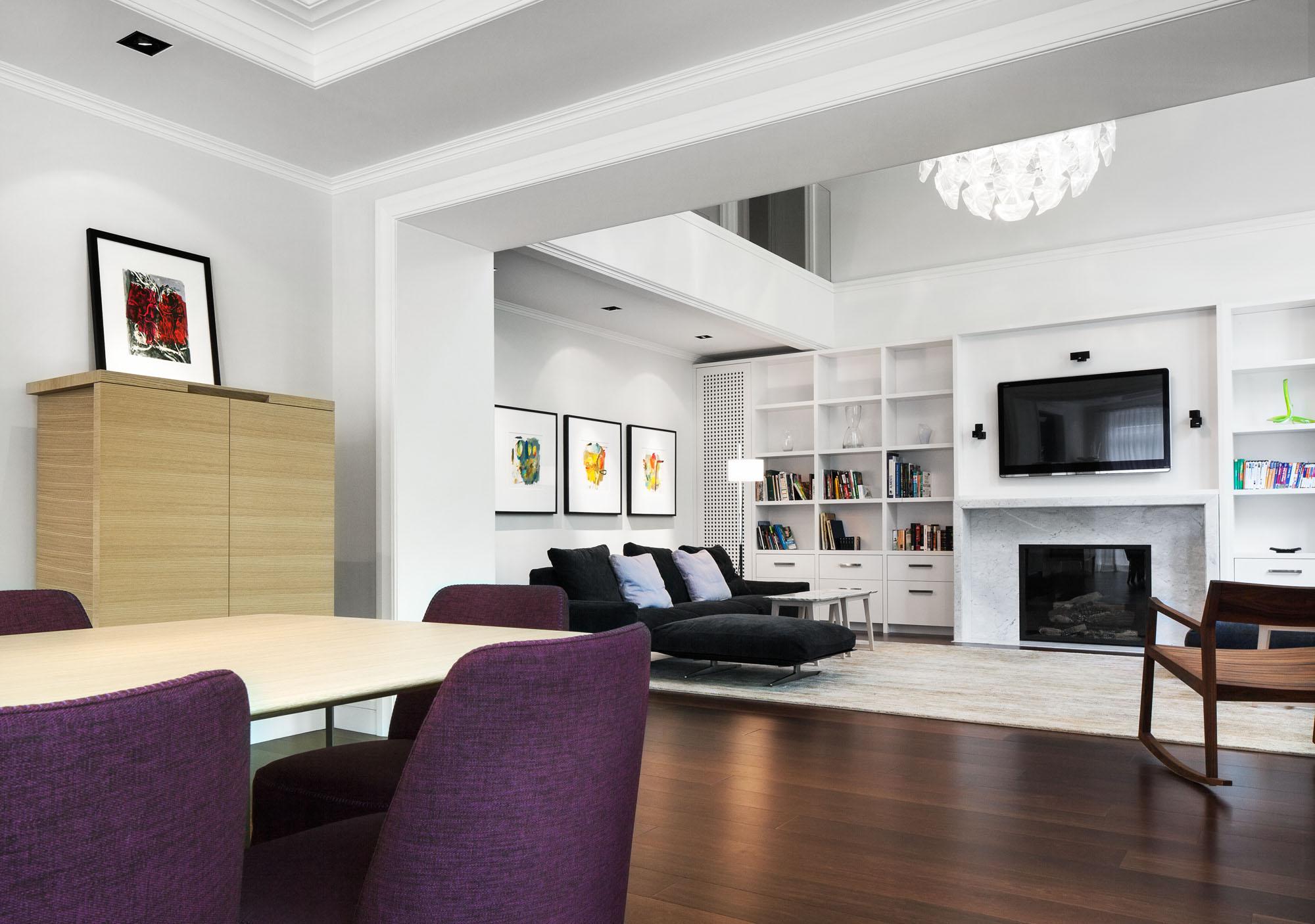 Interior Contemporary White Home With Black And Purple Interior Design