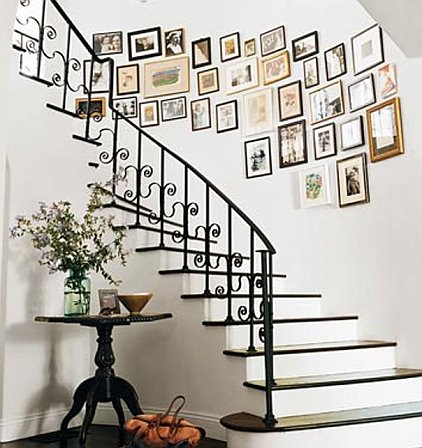 Photo frames on stairwall