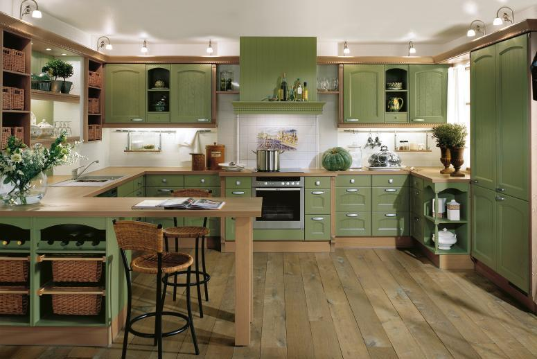 Green kitchen interior design