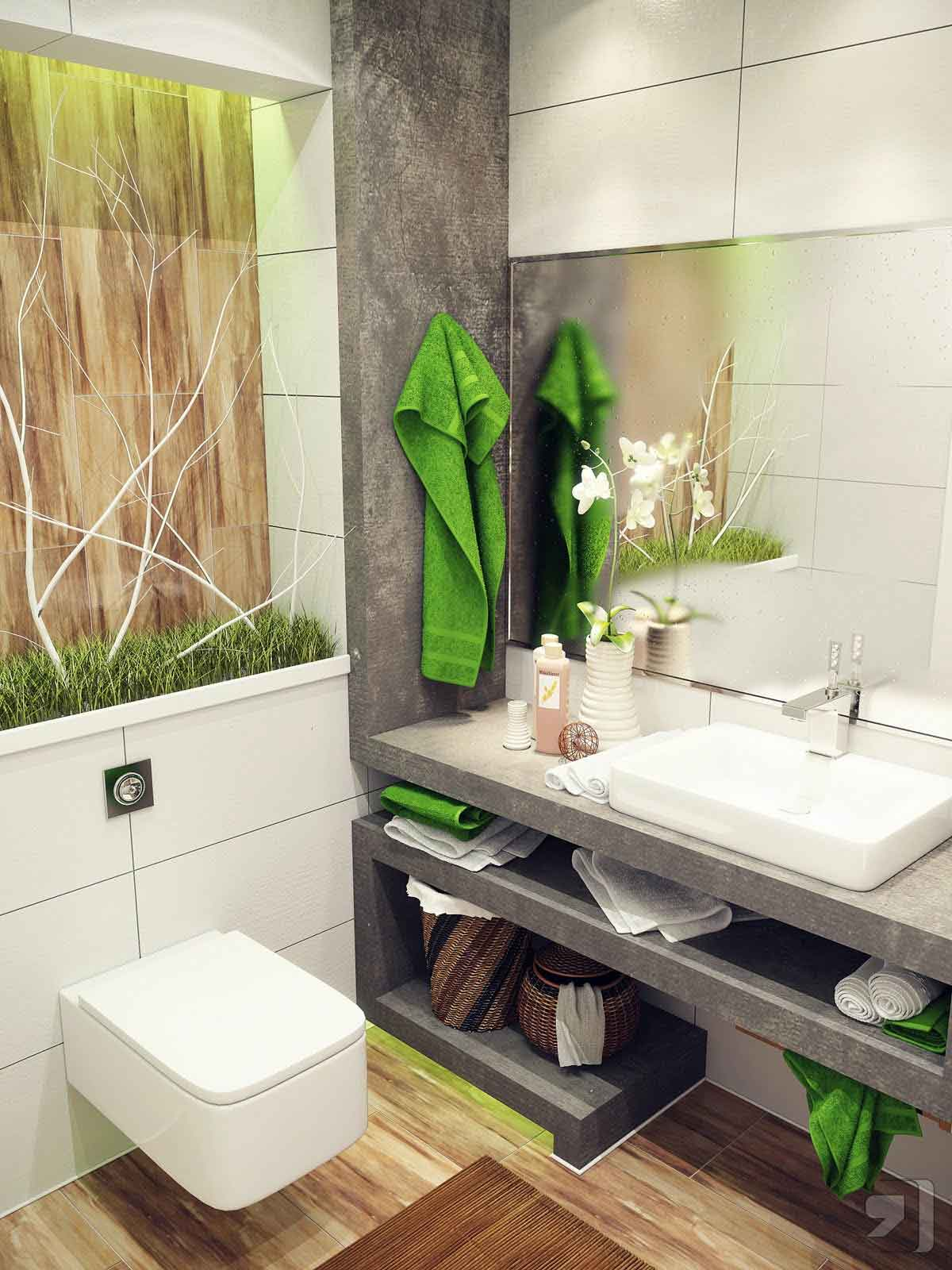 Green white nature small bathroom