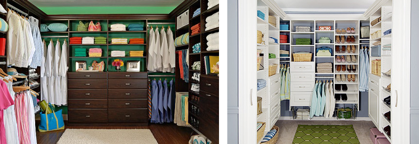 Organised bedroom closet