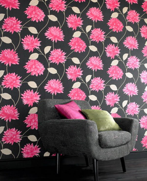 Flowers Wall Wallpapers Design For Your Bedrooms Decorating: Fantastic Decorating Tips With Pink Color