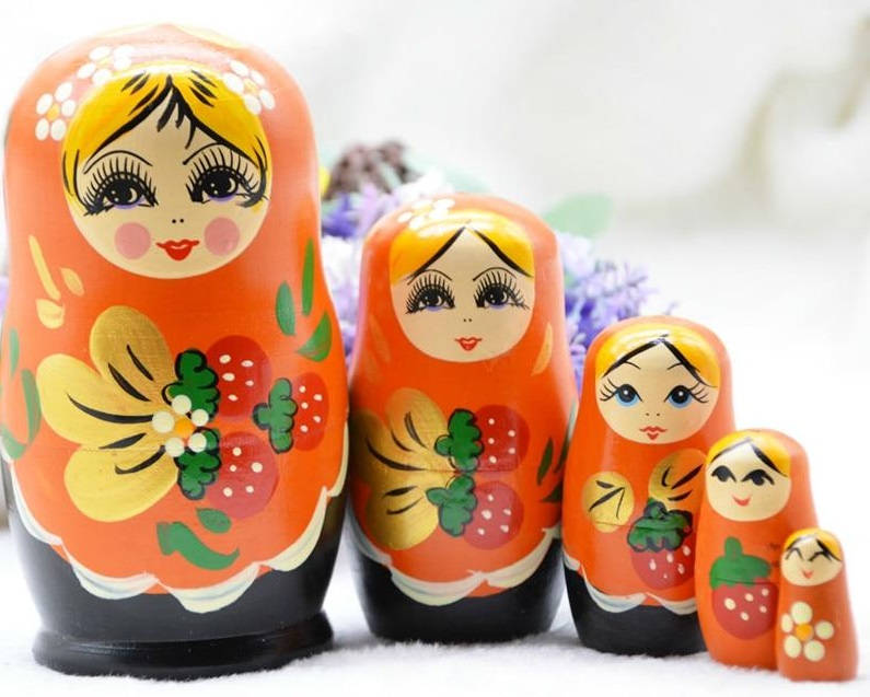 Orange Wooden Matryoshka Nesting Dolls
