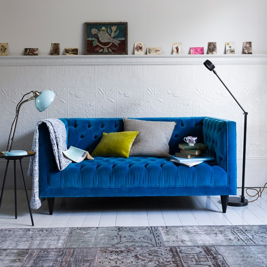 Bright Blue Velvet Sofa Living Room Homes and Gardens House To Home