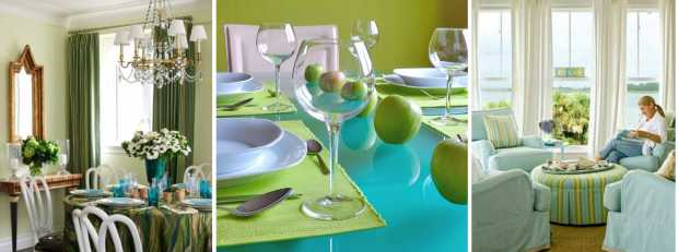 Green Blue Dining Table Design
