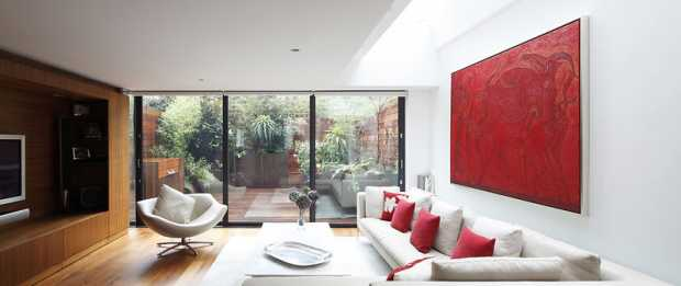 Contemporary Living Room with Glazed Doors to Garden