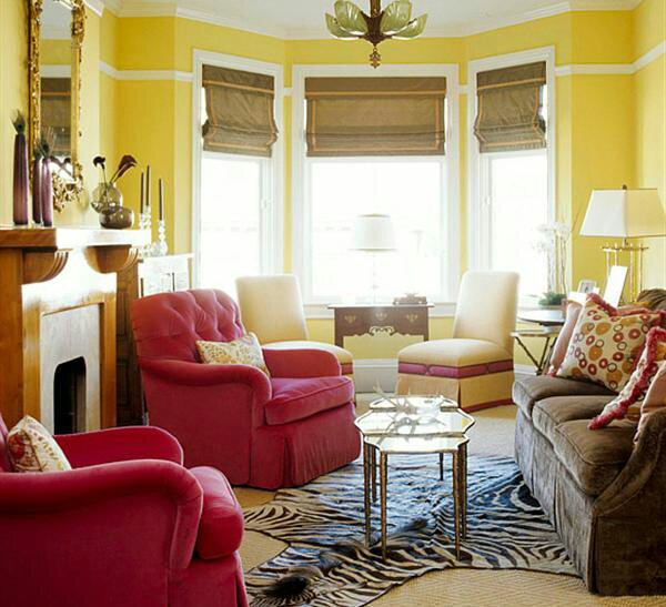 Yellow and Red Living Room Design Idea