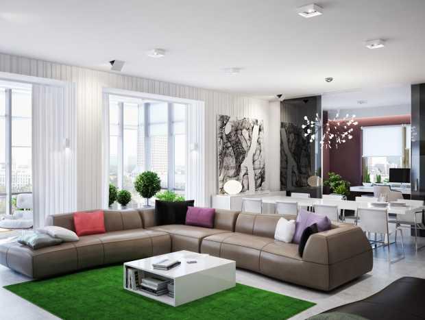 Green Brown Living Room L Shaped Sofa