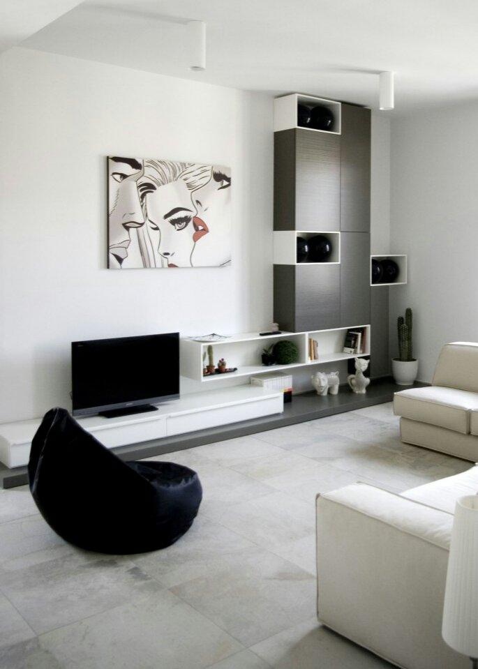 Grey White Contemporary Living Room