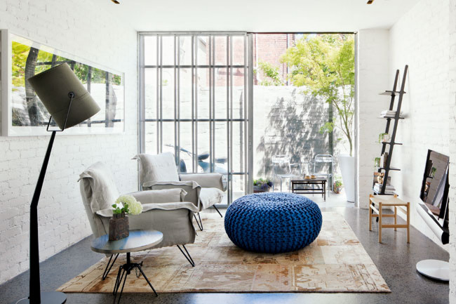 White Brick Wall Living Room Blue Knitted Pouf