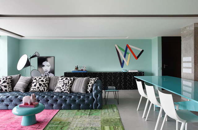 Interior Design Photos Blue Living Room Bold Pattern