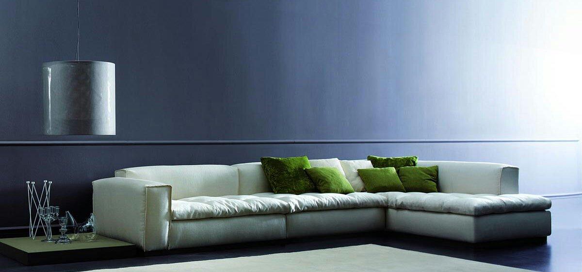 Modern Blue Wall And White Sofa My