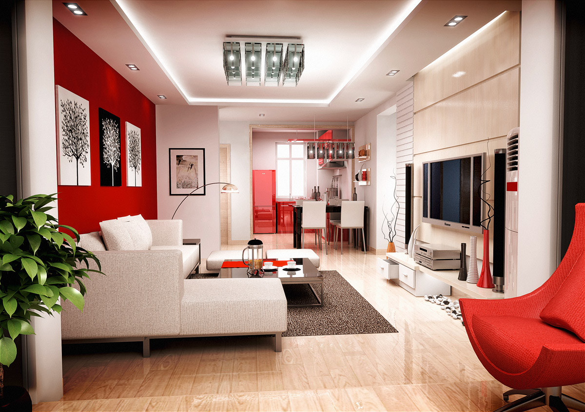 Modern Living Room Red White Interior Design Ideas