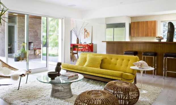 Modern Living Room With Sliding Door