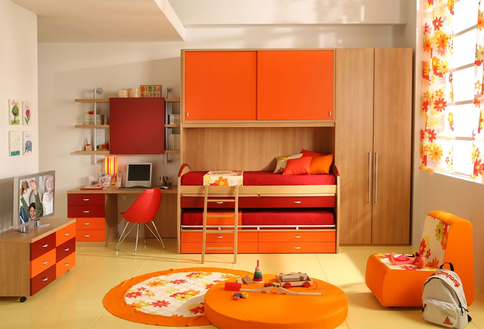 Nice Orange Kids Bedroom Design Idea