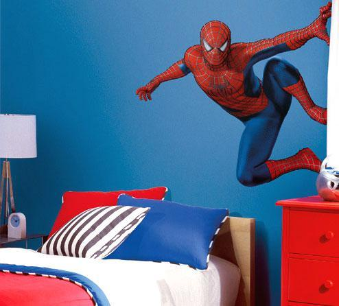 Bedroom with Spiderman on the Wall