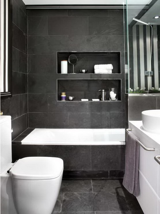 Elegant Black White Bathroom Design