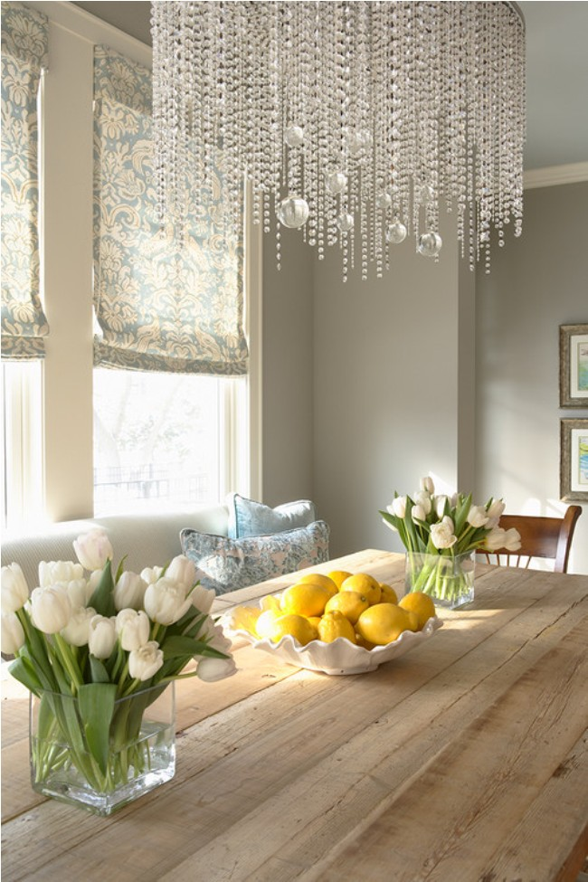 Fascinating Bright Kitchen Color Ideas Crystal Chandelier Oak Dining Table