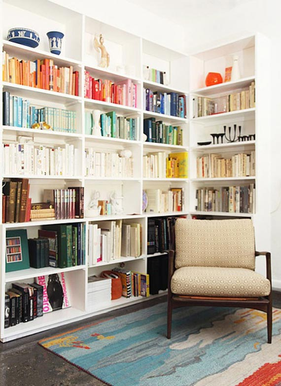 Modern White Bookshelf Design
