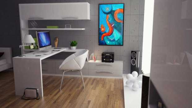 Modern Office with Ganesh Painting on Wall