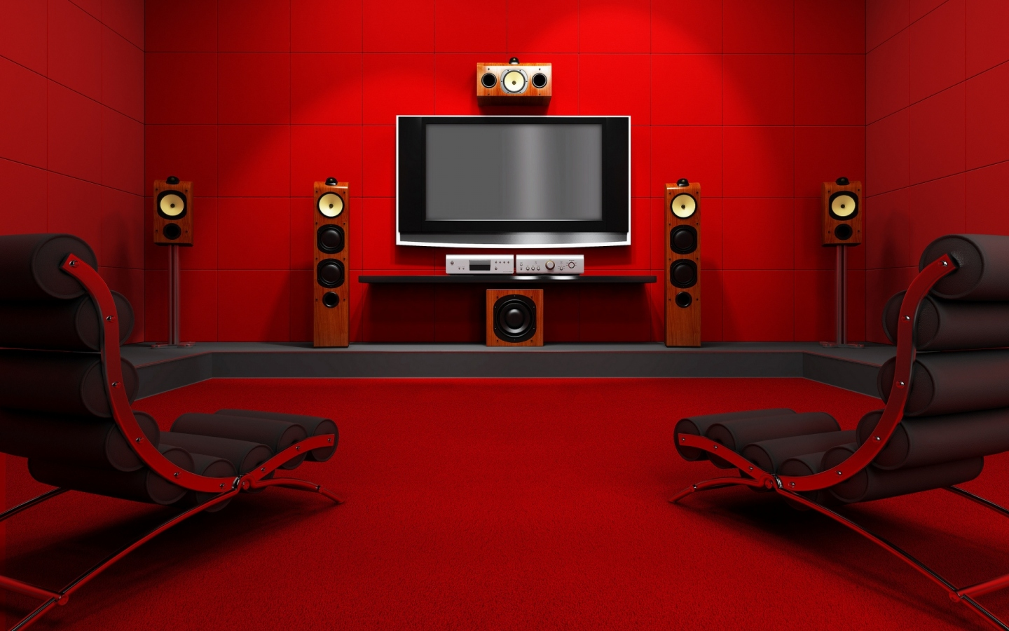 Modern Red Home Theater Room