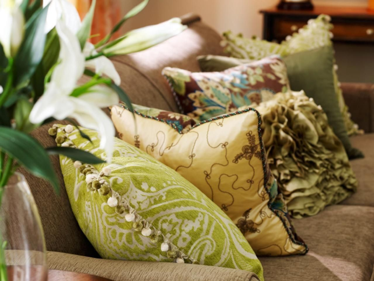 Several Pillows on Couch