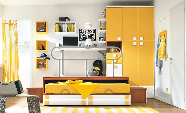 White Yellow Bedroom for Kids with Striped Rug Decor